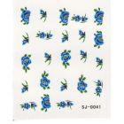 Nail art vodolepky - modré kvety, listy