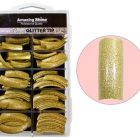 Glitrové tipy na nechty, 100ks - gold (216)