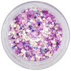 Ružovofialové konfety v prášku, 1mm - holografické šesťhrany