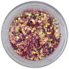 1mm konfety s odleskom - šesťhrany v staroružovom prášku