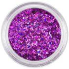 Holografický nail art šesťhran v prášku - ružovofialový, 1mm