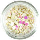 3mm flitre s odleskom - perleťovo biele šesťhrany