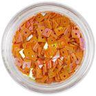 Oranžový štvorček - nail art ozdoba s dierkou