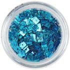 Hologramové konfety s dierkou - tyrkysovo modré štvorčeky