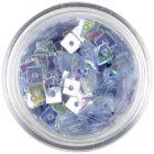 Dekoračné štvorčeky s dierkou - oceľovo modré