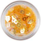Priehľadné konfety s dierkou - oranžové štvorčeky
