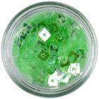 Priehľadné konfety s dierkou - svetlozelené štvorčeky