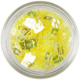 Priehľadný štvorček - žltá nail art ozdoba s dierkou