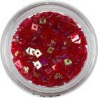Červený štvorček - priehľadná nail art ozdoba s dierkou
