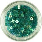Malý štvorček s dierkou - tyrkysovo zelený