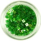 Priehľadné konfety s dierkou - malé zelené štvorčeky