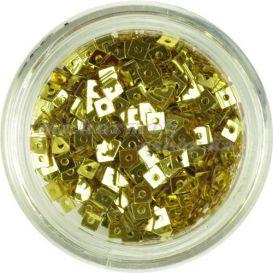 Zlatý štvorček - malá nail art ozdoba s dierkou