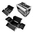 Kozmetický rozkladací kufrík - čierno strieborný