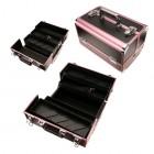 Kozmetický rozkladací kufrík - čierno ružový