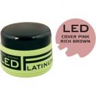 COVER PINK - kamuflážny LED modelovací gél na nechty - RICH BROWN PINK, 9g