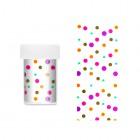 Ozdobná fólia na nechty - transparentná s farebnými bodkami
