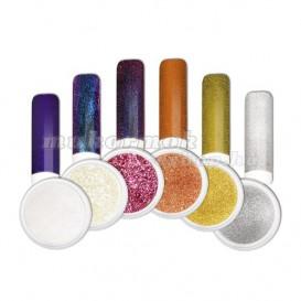 Ozdobný prášok - Sada farebných chrome práškov na nechty č. 2