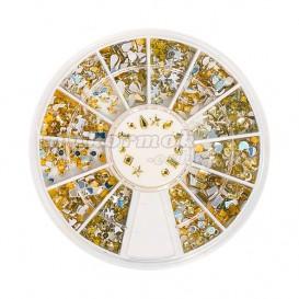 Ozdoby na nechty v boxe – rôzne tvary – zlaté