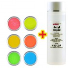 Sada Neon Color 6ks + Acryl Liquid 100ml ZADARMO