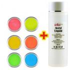 Sada Neon Color 6ks + Acryl Liquid 100ml ZADARMO