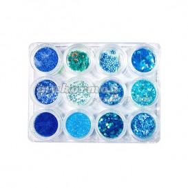 Ozdobná sada 12ks - modrá farba