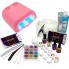 Set na gélové nechty - 3-fázový systém, 36W ružová UV lampa