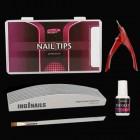 Modelovacia sada na nechty : 10ks piníkov na nechty + nechtové tipy + lepidlo na nechty + gilotína + štetec