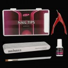 Modelovacia SADA: 10ks piníkov na nechty + nechtové tipy + lepidlo na nechty + gilotína + štetec