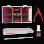 Modelovacia sada na nechty : 10ks pilníkov na nechty + nechtové tipy + lepidlo na nechty + gilotína + štetec