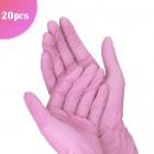 Ružové jednorazové rukavice S/20ks