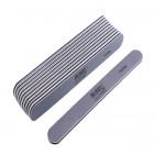 10ks-Pilník na nechty, sivý rovný s čiernym stredom, umývateľný a dezinfikovateľný 100/180