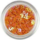 Oranžové kvietky s dierkou - farebný odlesk