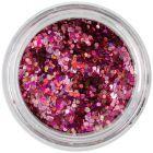 1mm konfety - šesťhrany holografické, ružové
