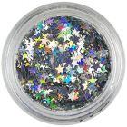 Strieborné ozdobné hviezdičky - hologram