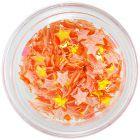 Oranžové opálové ozdoby na nechty - látkové hviezdičky
