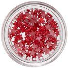Červené hviezdičky na zdobenie nechtov, perleť