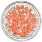 Nail art oranžové ozdoby - malé kvietky, perleť